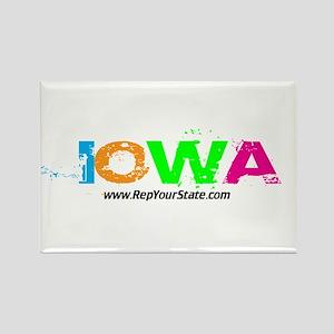 Colorful Iowa Rectangle Magnet