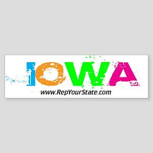 Colorful Iowa Bumper Sticker