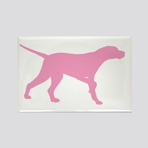 Pink Pointer Dog Rectangle Magnet