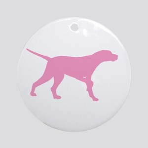 Pink Pointer Dog Ornament (Round)