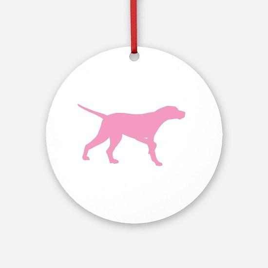 Pink Pointer Dog Ornament (Round)