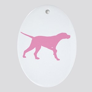 Pink Pointer Dog Ornament (Oval)