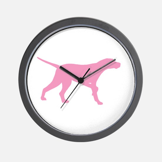 Pink Pointer Dog Wall Clock