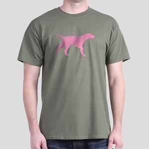 Pink Pointer Dog Dark T-Shirt