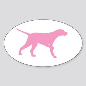 Pink Pointer Dog Sticker (Oval)
