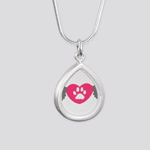 Winged Paw Print Heart Necklaces