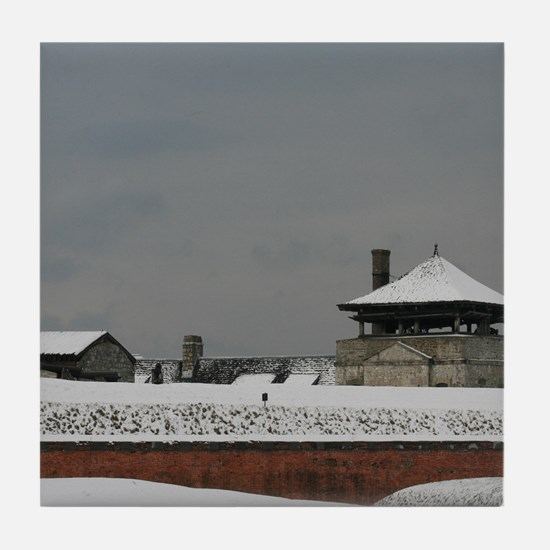 Old Fort Niagara Guardhouse in Winter Tile Coaster