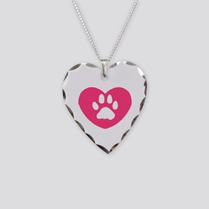 Winged Paw Print Heart Necklace Heart Charm
