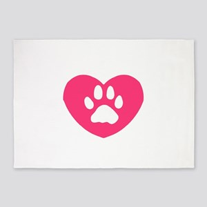 Winged Paw Print Heart 5'x7'Area Rug