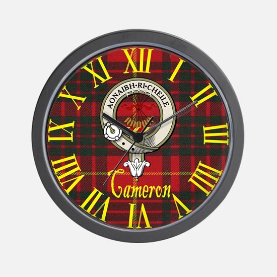 Cameron Clan Crest / Tartan Wall Clock