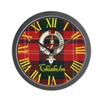 Chisholm Clan Crest / Tartan Wall Clock