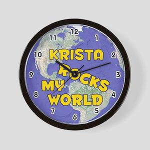 Krista Rocks My World (Gold) Wall Clock