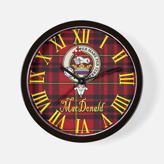 MacDonald Clan Crest / Tartan Wall Clock