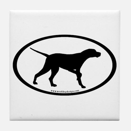 Pointer Dog Oval Tile Coaster