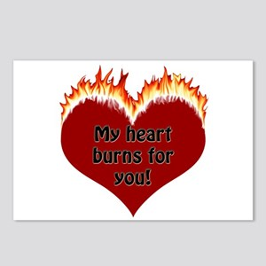Burning Heart Valentine Postcards (Package of 8)
