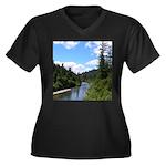 Scenic Eel River Women's Plus Size V-Neck Dark T-S