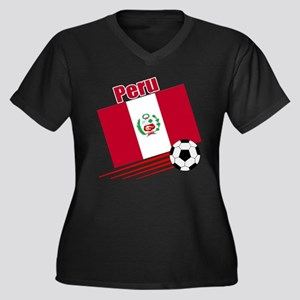 Peru Soccer Team Women's Plus Size V-Neck Dark T-S