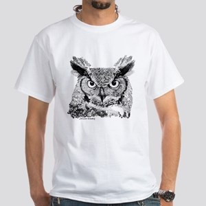 Horned Owl White T-Shirt