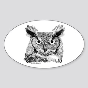 Horned Owl Oval Sticker