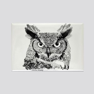 Horned Owl Rectangle Magnet