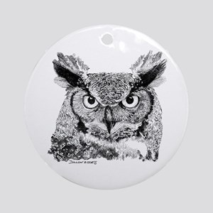 Horned Owl Ornament (Round)