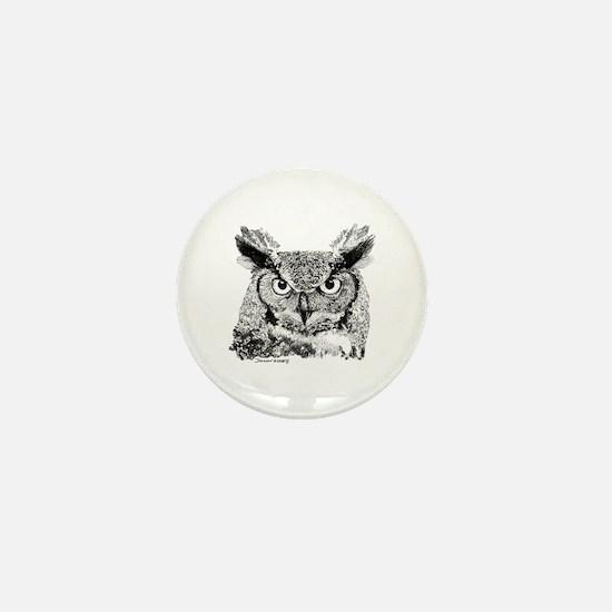 Horned Owl Mini Button (10 pack)