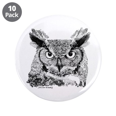 """Horned Owl 3.5"""" Button (10 pack)"""