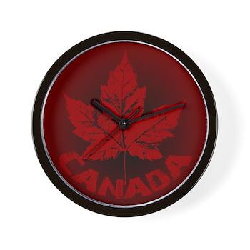 Cool Canada Souvenir Wall Clock Maple Leaf Art