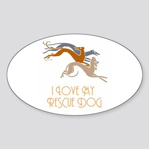 I Love My Rescue Dog Oval Sticker