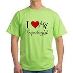 I Heart My Topologist Green T-Shirt