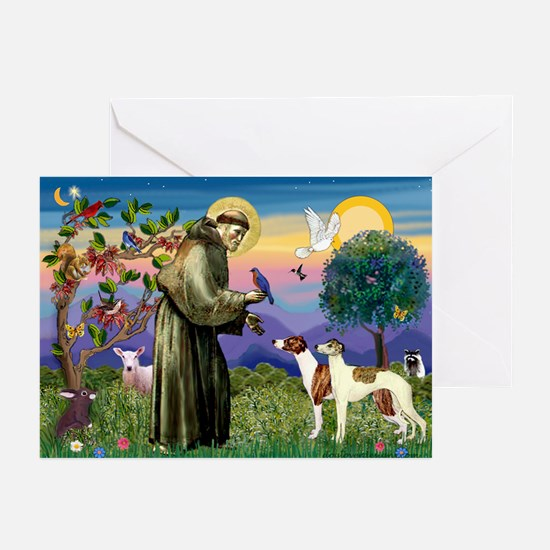 St Francis & Whippets Greeting Cards (Pk of 10