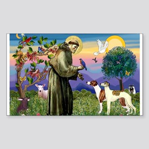 St Francis & Whippets Rectangle Sticker