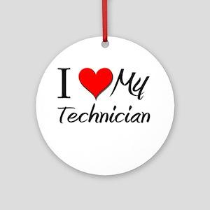 I Heart My Technician Ornament (Round)