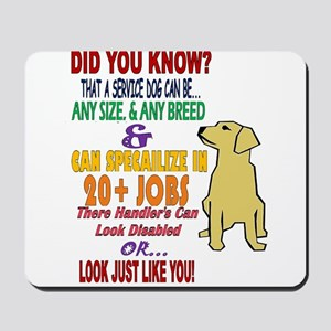 did you know service dog education Mousepad