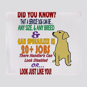 did you know service dog education Throw Blanket