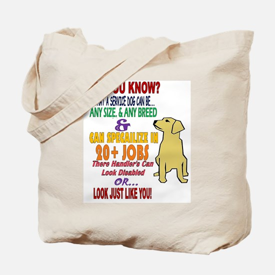did you know service dog education Tote Bag