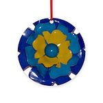 Flower Brooch 2 Ornament (Round)