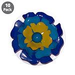 """Flower Brooch 2 3.5"""" Button (10 pack)"""
