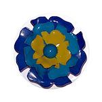 "Flower Brooch 2 3.5"" Button"