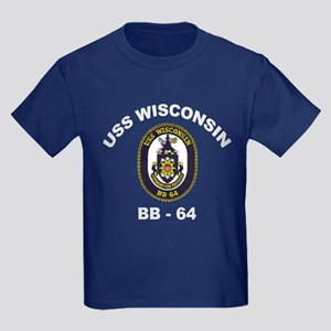 USS Wisconsin BB 64 Kids Dark T-Shirt