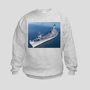USS Wisconsin Ship's Image Kids Sweatshirt