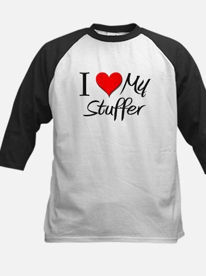 I Heart My Stuffer Kids Baseball Jersey