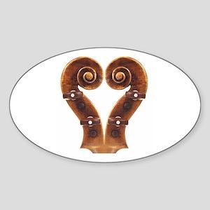 Violin Scroll Heart Oval Sticker