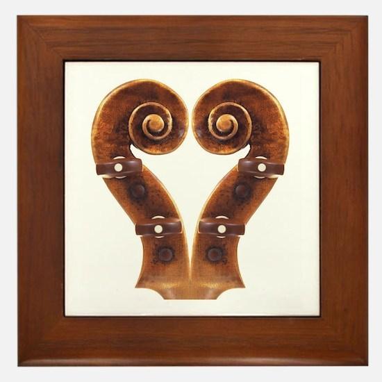 Violin Scroll Heart Framed Tile