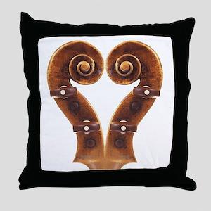 Violin Scroll Heart Throw Pillow