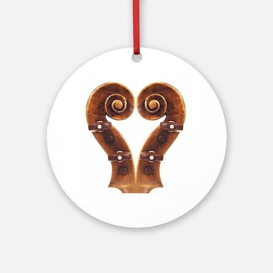 Violin Scroll Heart Ornament (Round)