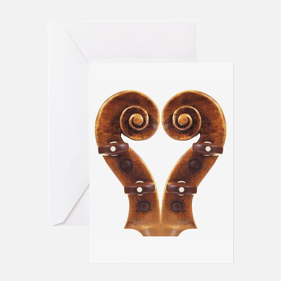 Violin Scroll Heart Greeting Card