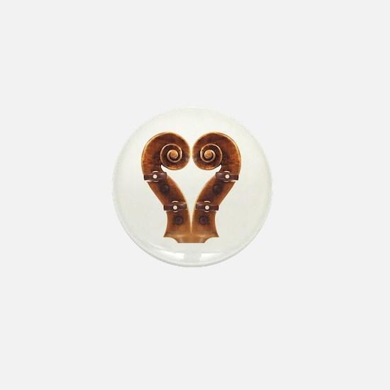 Violin Scroll Heart Mini Button