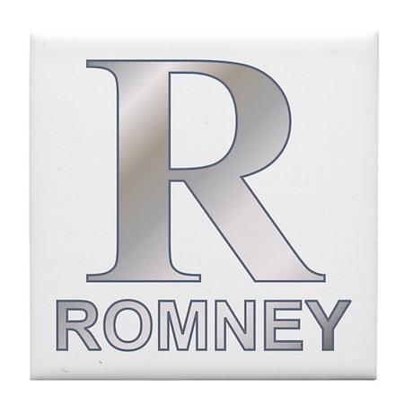 Silver R for Mitt Romney Tile Coaster
