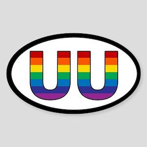 Rainbow UU Bumper Oval Sticker